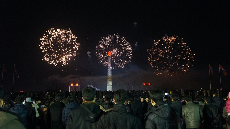 New Year Fireworks in Pyongyang, North Korea 1st January Juche 103 2014