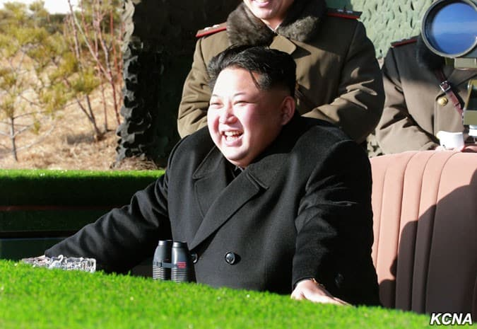Kim Jong Un Watches Firing Contest of KPA Artillery Units