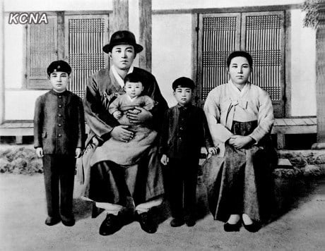 Kim Il-sung as a child, with his parents. The Revolutionary founders of the Korean nation. | Image: KCNA
