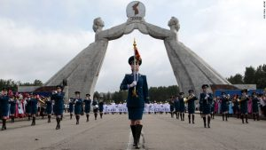 The North Korean military band leads an international peace march