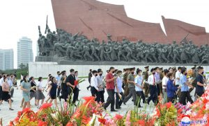 Floral Tribute to Statues  of Kim Il Sung and Kim Jong Il