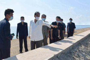 Pak Pong Ju Inspects Newly Completed Ansok Tideland