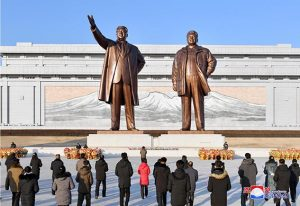 Floral Tribute Paid to Statues  of Great Leaders